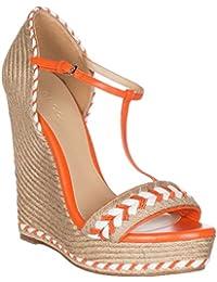 Women's Neon Orange Leather T-Strap Platform Sandal Shoes