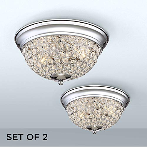 Possini Euro Faith Chrome-Crystal Ceiling Lights Set of 2 - Possini Euro Design (Sets Ceiling Light)