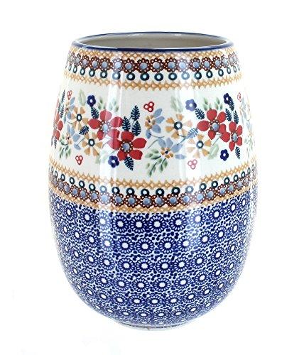 Manufaktura Blue Rose Polish Pottery Red Daisy Vase