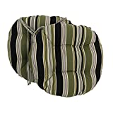 Blazing Needles Spun Polyester Patterned Outdoor Round Tufted Chair Cushions Set, Set of 2, 16