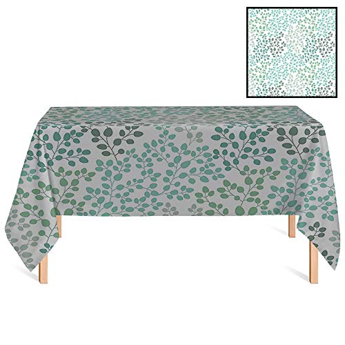 - SATVSHOP Wrinkle Free Tablecloths /60x120 Rectangular,Green House Pattern with Leaf Branches Silhouette Nature Foliage Forest rative Image Gray Teal Blue Green.for Wedding/Banquet/Restaurant.