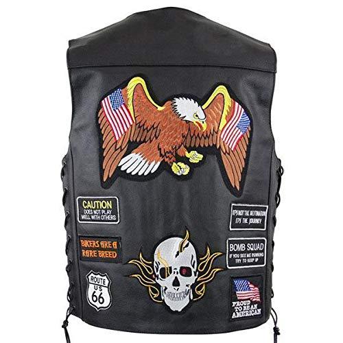 Xelement VP9170 Men's Black Flying Eagle and American Flag Leather Vest with Concealed Gun Pocket - Large