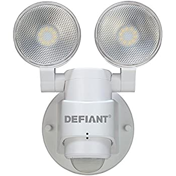LED Motion Sensor Security Light By Defiant | 180 Degree 180 Degree 2-Head White Outdoor Weatherproof Spot Lights | Bright Lumens |Tool-less Lamp ...