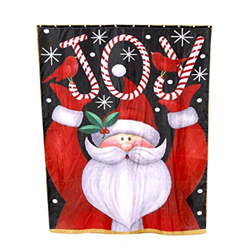 [AMA(TM) Custom Merry Christmas Dreamlike Santa Claus Snowman Polyester Fabric Waterproof Bathroom Shower Curtain Home Decor Size 60