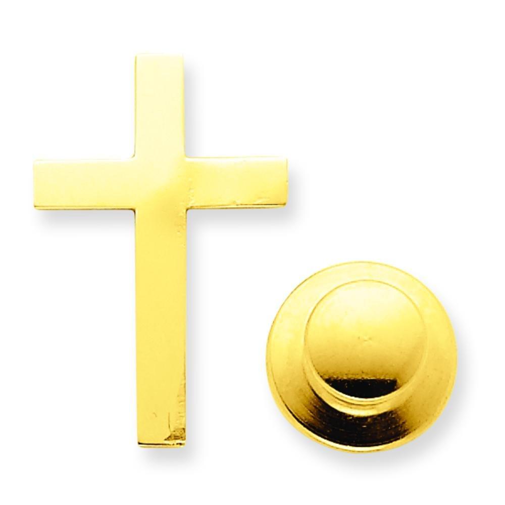 14K Yellow Gold Cross Tie Tac Lapel Pin Jewelry