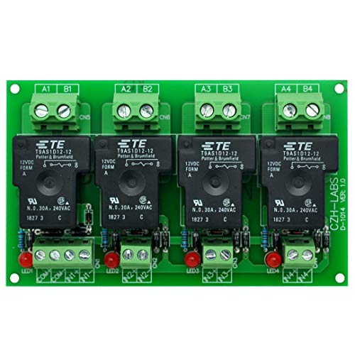 CZH-Labs 12V Passive 4 SPST-NO 30Amp Power Relay Module Board.