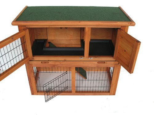 Bunny Business Double Decker Rabbit  Guinea Hutch with Ramp, 3 ft