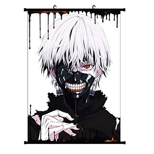 Bowinr Tokyo Ghoul Wall Scroll Poster, Kaneki Ken Kamishiro Rize Touka Kirishima Fabric Painting Anime Home Decor (M, Style 02)
