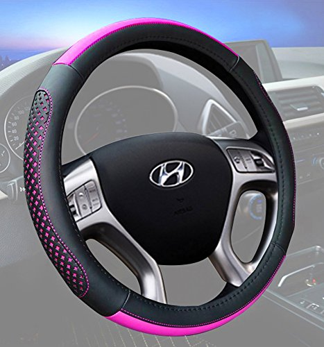 Car Steering Wheel Cover 15 Inch Microfiber Leather Universal Fashion Breathable Anti Slip Purple