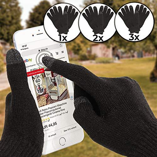 Jago Touchscreen Handschuhe - für Smartphones, in Einheitsgröße, Setwahl 1er, 2er, 3er - Touch Gloves, Winterhandschuhe