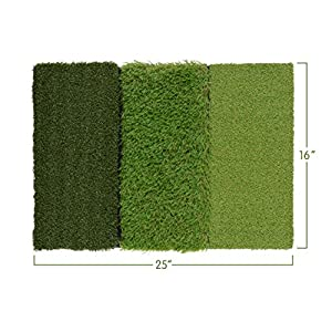 Milliard Golf 3-in-1 Turf Grass Mat Includes Tight Lie, Rough and Fairway for Driving, Chipping, and Putting Golf practice and Training - 25x16in.