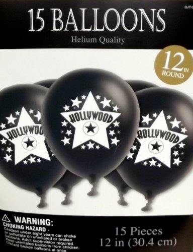 [Amscan Hollywood and White Printed Latex Balloons, 12