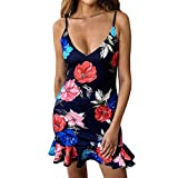 Forthery-Women Dress Floral Print V Neck Spaghetti Strap Sleeveless Ruffle Hem Bodycon Mini Dress(Navy,US Size S = Tag M)