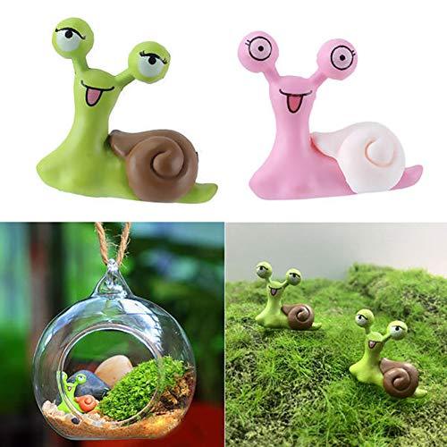 dezirZJjx Mini Micro Landscape,2Pcs Miniature Snail Garden Ornament Craft Dollhouse DIY Scenery Decoration