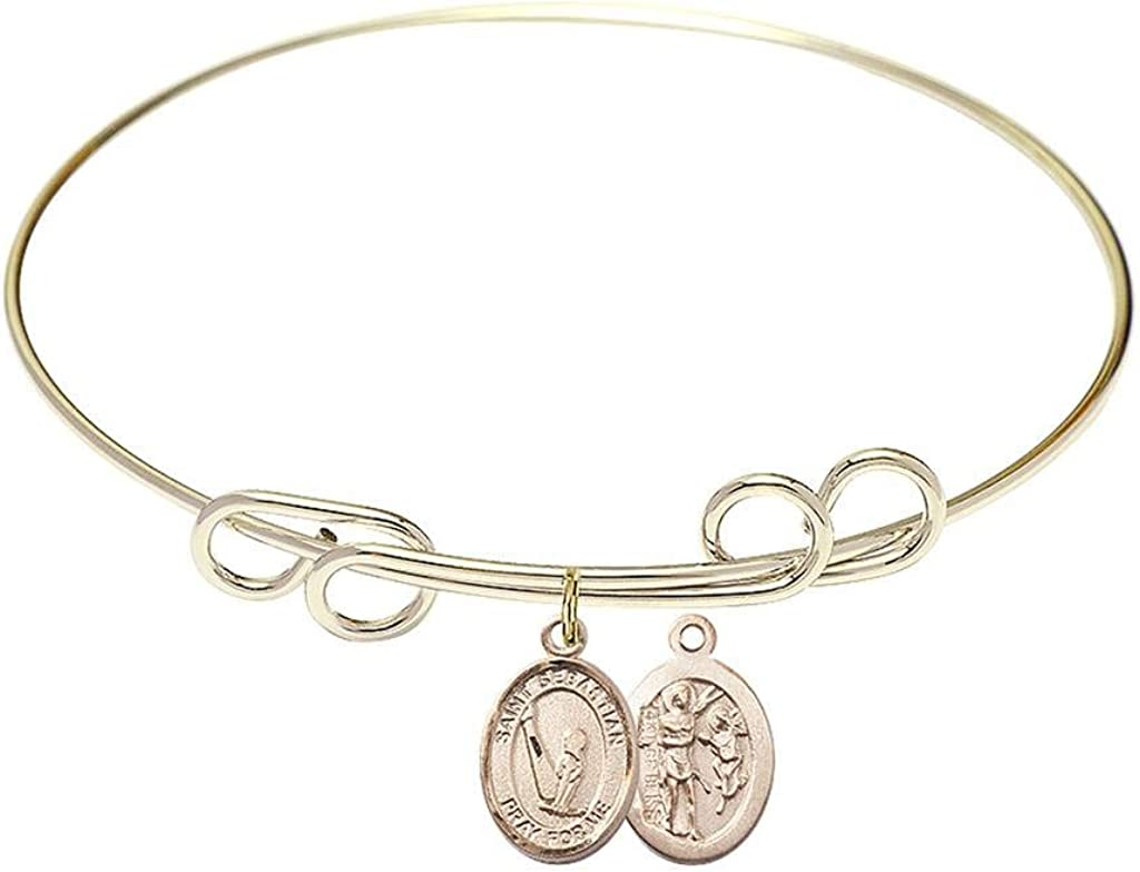 St Sebastian Charm On A 8 Inch Round Double Loop Bangle Bracelet