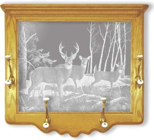 Amazon Com Oak Wall Coat Rack With Deer Hunting Etched Mirror Deer Hunting Decor Unique Deer Hunting Gift Ideas Fully Assembled 26 W X 22 H Furniture Decor