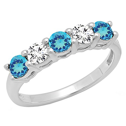 14K White Gold Round Blue Topaz & White Diamond Ladies 5 Stone Wedding Band Ring (Size 8)