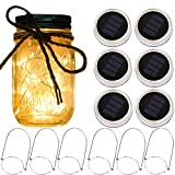 Solar Mason Jar Lantern Lights,6 Pack 20 Led Fairy Solar Firefly Jar lids Lights,6 Hangers 16 Feet Hemp Rope Included,Outdoor Mason Jar Patio Garden Wedding Table Decor Solar Lanterns Light