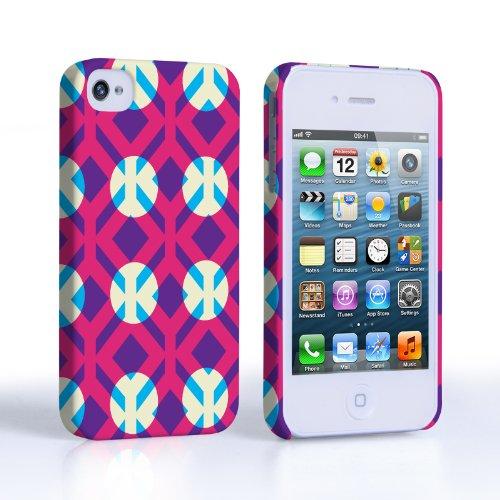 Caseflex iPhone 4 / 4S Hülle Rosa / Lila Quadrate Und Kreise Muster Hart Schutzhülle