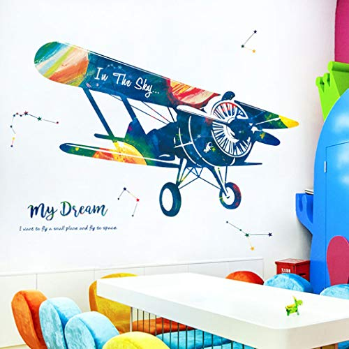 Transser Wall Sticker - Large Vintage Plane Printed Adhesive Mural Inkjet Wall Window Art Crafts Decor Cooktops for Living Room, Bedroom, Hallway (Multicolor)