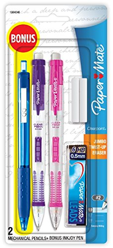 Paper Mate Clearpoint Mechanical Pencils, 0.5mm, HB #2, with Bonus InkJoy 300RT Blue Ballpoint Pen, 2 + 1 Pack ()