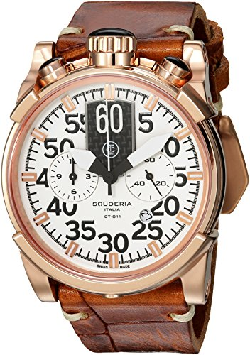 CT-Scuderia-Mens-Touring-Swiss-Quartz-Stainless-Steel-and-Leather-Casual-Watch-ColorBrown-Model-CS10165