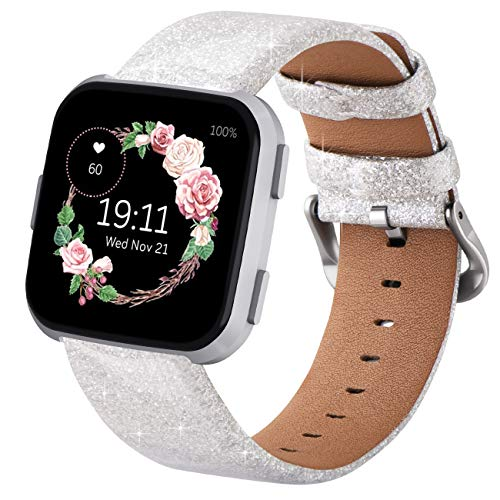 Surace Compatible for Fitbit Versa Bands for Women Sparkly 3D Glitter Bling Leather Band Replacement for Fitbit Versa 2 Bands Compatible with Fitbit Versa Lite Smart Watch, Silver
