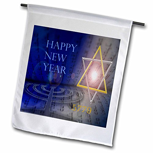 3dRose Jewish Themes - Image of Bright Mogen David With Menorah and Happy New Year - 18 x 27 inch Garden Flag ()