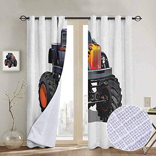 NUOMANAN Bedroom Curtain Truck,Flame Patterned Hood Cool Monster Truck with Giant Wheels Childrens Cartoon Pickup, Multicolor,Insulating Room Darkening Blackout Drapes 84