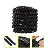 1.5''/ 2'' Width Poly Dacron 30/40/50ft Length Professional Lightweight Fitness Rope Workout Training Undulation Rope Fitness Rope Exercise (1.5'' x 30ft Gold)