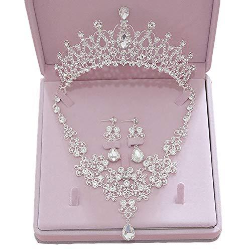 (Angel3292 Chic Hollow Flower Wedding Bridal Jewelry Set Tiara Crown Drop Earring Necklace)