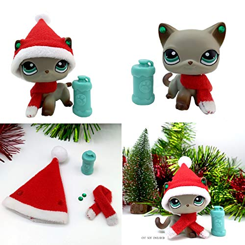 Tiny Pet Shop lps Christmas Accessories(Cat Not Included), Santa Hat and Scraf lps Accessories Earrings and Drink Suit lps Short Hair Cat for Your Lovely Pets -