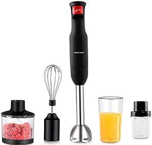 XIAO WEI Stainless Steel Hand Blender (800 watts Mixer Chopper Whisk and Food Processor incl. 4-Piece Accessories) Hand Mixer Set Hand Blender Mixer Hand Mixer Black