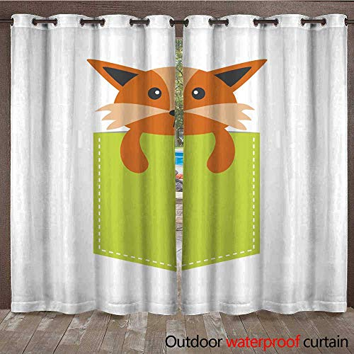 RenteriaDecor Home Patio Outdoor Curtain Fox in The Pocket Cute Cartoon Character Dash line Forest Animal Collection T Shirt Design White Background Isolated W108 x L84 ()