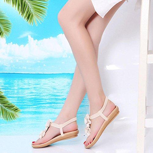 LHWY Sandalen Damen Zehentrenner, Sommer Frauen Mädchen Schuhe Flache Römische Slipper Casual Zehengummiband Design Strand Sandalen Hausschuhe Blumendekor Beige