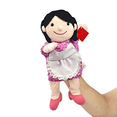 TOYANDONA Plush Puppet Toy Character Doll Family Member Hand Puppets for Children Kids Birthday Gift 30CM (Pink Mother): Toys & Games [5Bkhe0502260]