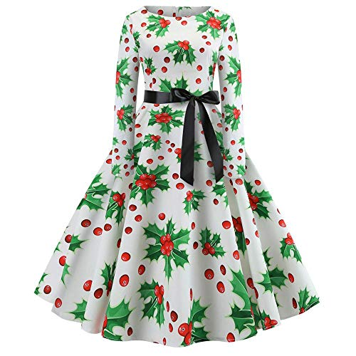 HGWXX7 Women's Vintage Print Long Sleeve Christmas Evening Party Pleated Swing Hepburn Dress(White,2XL)