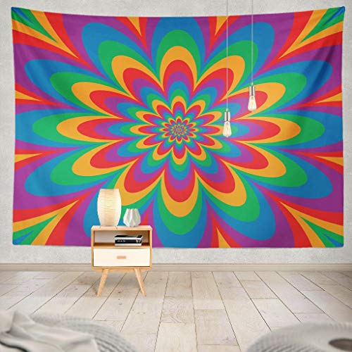 (KJONG Flower Art and Groovy Seventies Psychedelic Art Color Flower Retro Sixties Decorative Tapestry,60X80 Inches Wall Hanging Tapestry for Bedroom Living)
