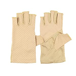Womens Sunscreen Fingerless Gloves UV Sun Lightweight Cotton Driving Gloves