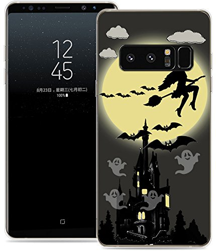 Case for Note 8 Halloween Witch/IWONE Designer TPU Non Slip Rubber Durable Protective Skin Clear Cover Compatible for Samsung Galaxy Note 8 + Halloween Design Gift Present Bat ()