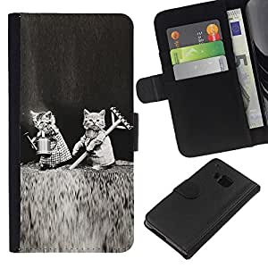 Cute Kittens Black White Funny Love - la tarjeta de Crédito Slots PU Funda de cuero Monedero caso cubierta de piel HTC One M7