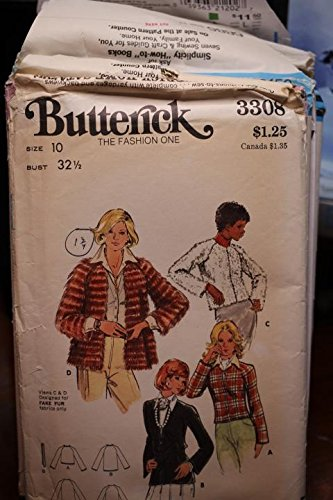 (Vintage Butterick Pattern 3308 Sz 10 Bust 32 1/2 Misses' Jacket UNCUT FF)