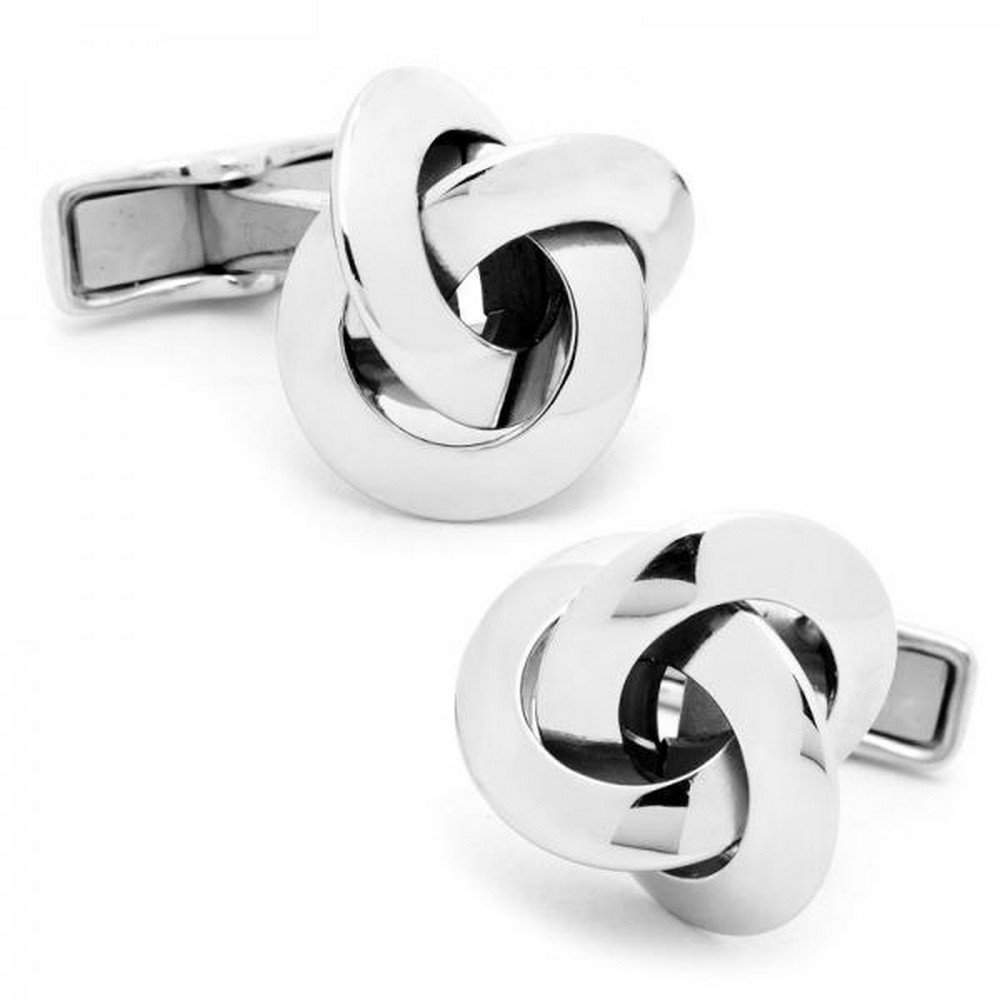 Unique, Unisex Love Knot Cufflinks Crafted in Polished Sterling Silver w/ Engravable Backing