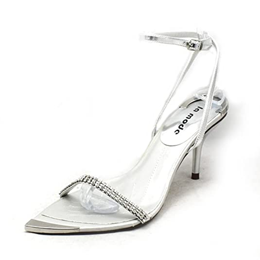 fd8ed91c195 Diamante Pointed Toe with Silver Toe Cap Party Sandals  Amazon.co.uk  Shoes    Bags