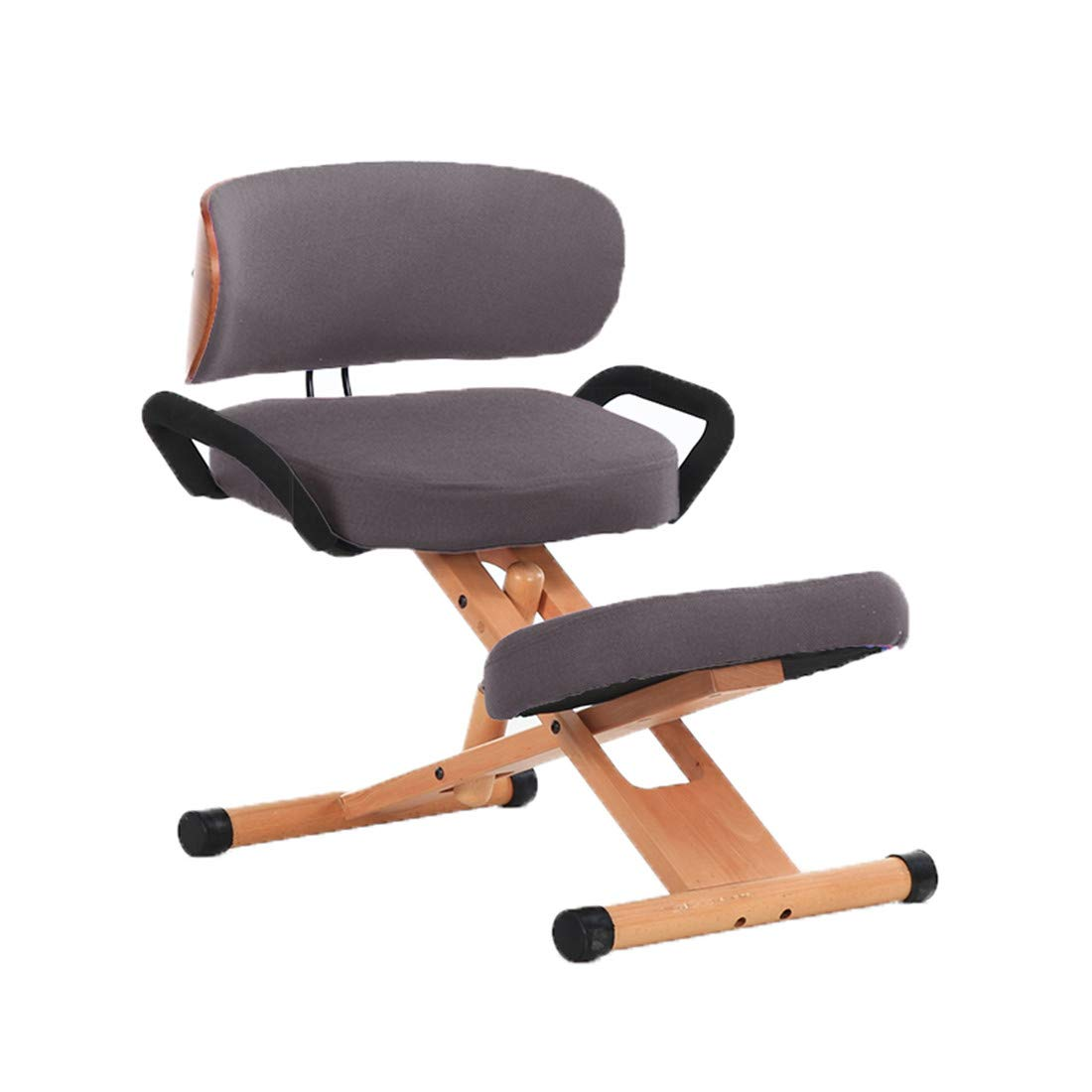 Wood Kneeling Chairs Balancing Body Office Orthopedic Stool with Handle Cushions Adjustable Ergonomic Relieving Back Orthopedic and Neck Pain by Kneeling Chairs JM