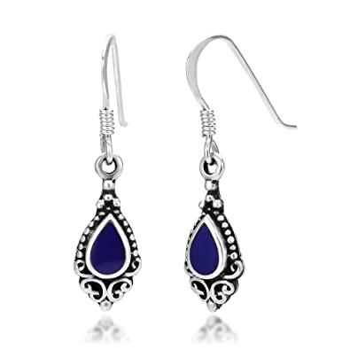 a35b8eeae 925 Sterling Silver Bali Inspired Blue Stone Black Filigree Dangle Hook  Earrings