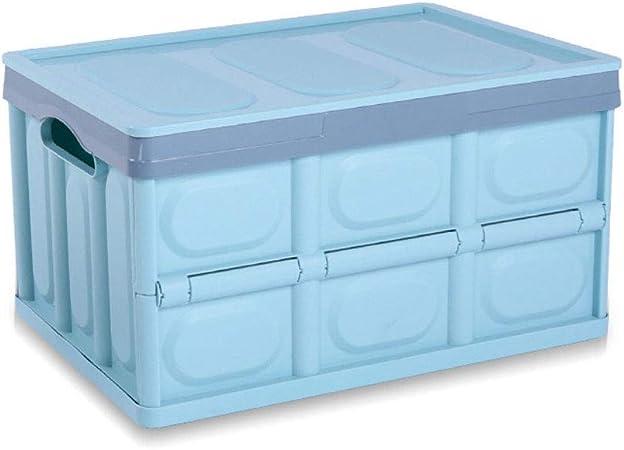 XLD De Plástico Plegables De Almacenamiento De 55 litros Caja Plegable Apilable Envase De Plástico (Color : Blue): Amazon.es: Hogar