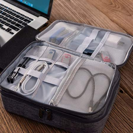 Styleys Double Layer Gadget Organizer Case, Portable Zippered Pouch for All Gadgets, HDD, Power Bank, USB Cables, Power Adapters, etc (Grey - S11029)