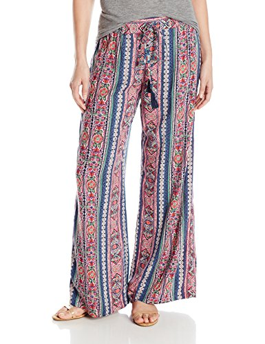 Angie Womens Printed Wide Leg Pant With Tassel  Blue  Small