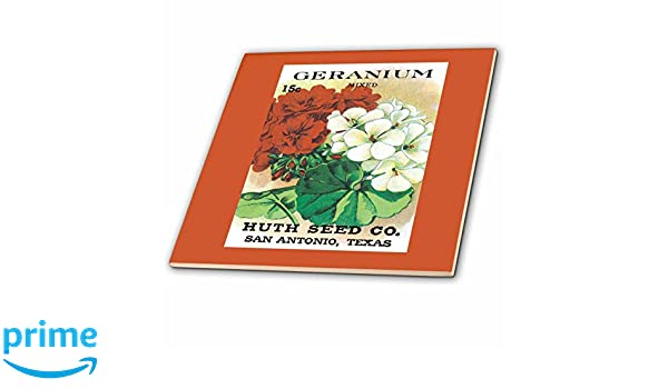 3dRose ct/_170160/_2 Geranium Mixed Colors Huth Seed Company San Antonia 6-Inch Texas-Ceramic Tile